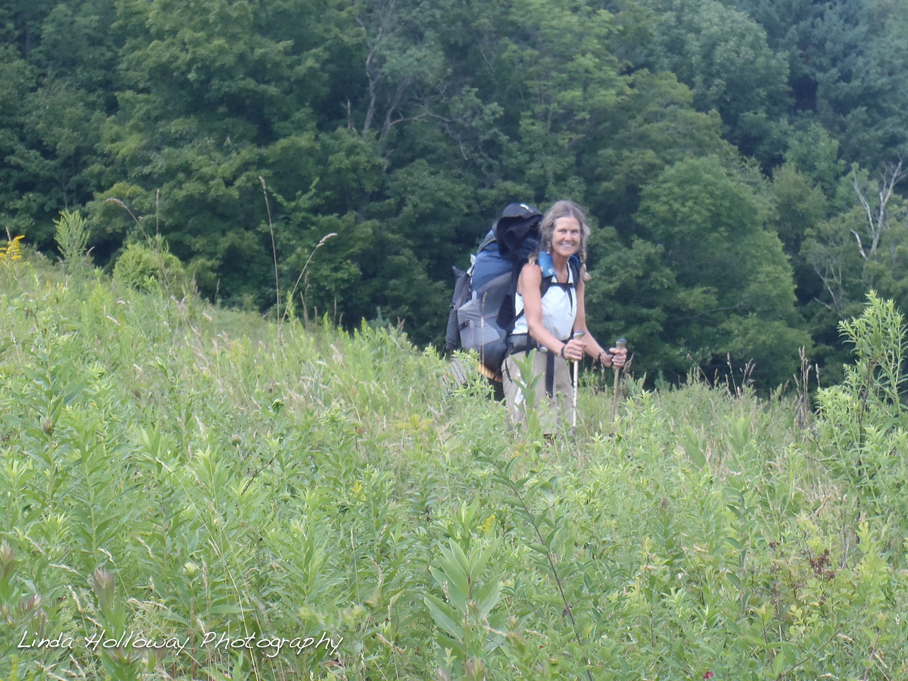 Hiking in the field.