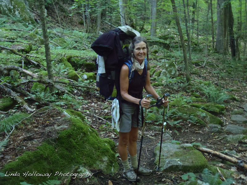 We left Hanover, New Hampshire and started hiking up the Mt.  It was up and down today not a lot of long ups. I hiked with a new pack -Granite Gear- today.  It is carrying the weight better than my old pack.  Water was scarce today.  A lot of the streams listed in the guide book were dry.  My trail bird sang to me today.  He has been on the trail since Vermont.  Such a pleasure to hear each morning and afternoon.