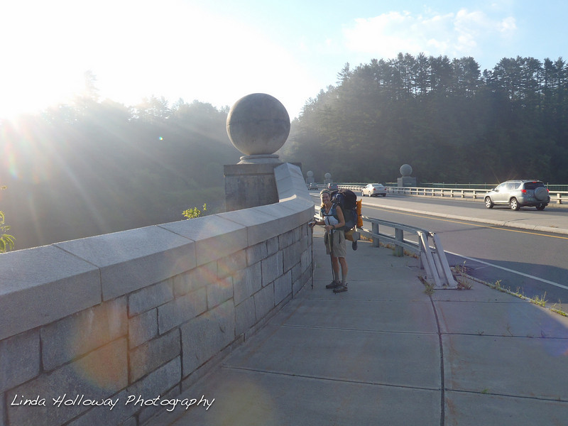 We walked across the bridge.  The Vermont and New Hampshire state line was on the bridge.