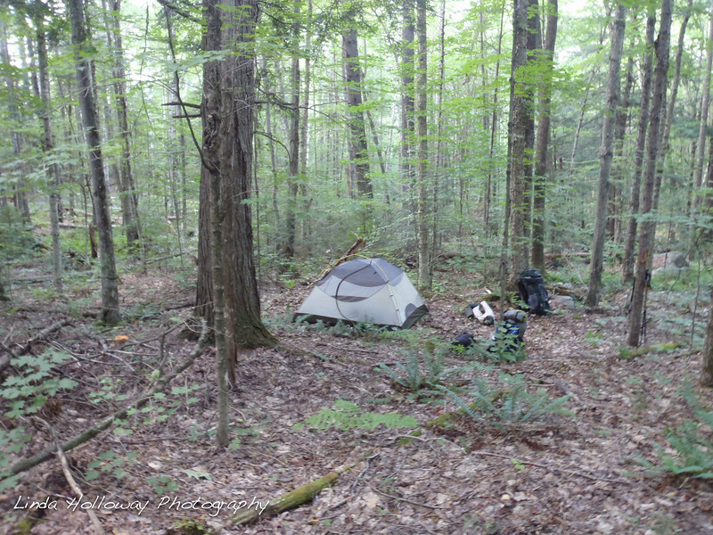 We had a hard time finding a flat spot to camp.  It took us a while to find this spot.