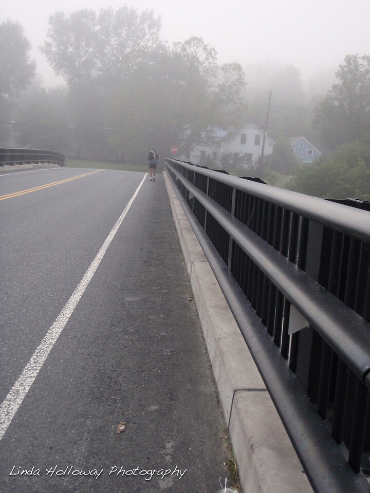 Hiking into West Hartford, Vermont.  Crossing a bridge.