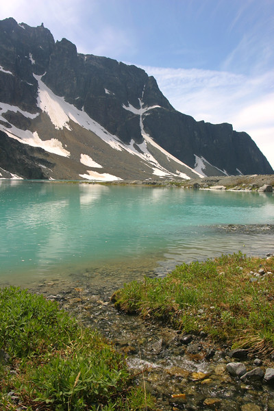 A small creek leading into Wedgemount Lake (Rethel Mountain in the background)