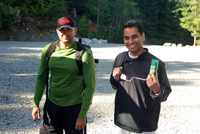 Ashik and Neel at the Wedgemount Lake trailhead.