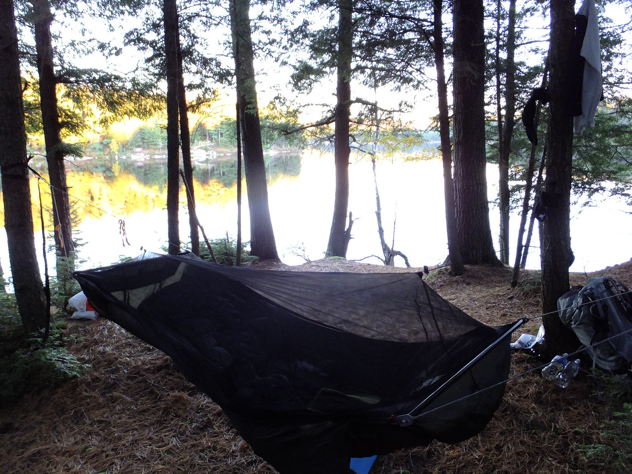 Set up my hammock as the sun was setting.  Bug  net is just to keep things from falling onto the ground. No bugs in October.