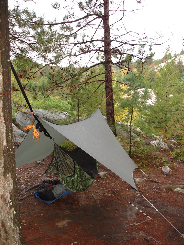 There was a big storm in the middle of the night.  Glad I wasn't in a tent--note the puddle under the hammock.
