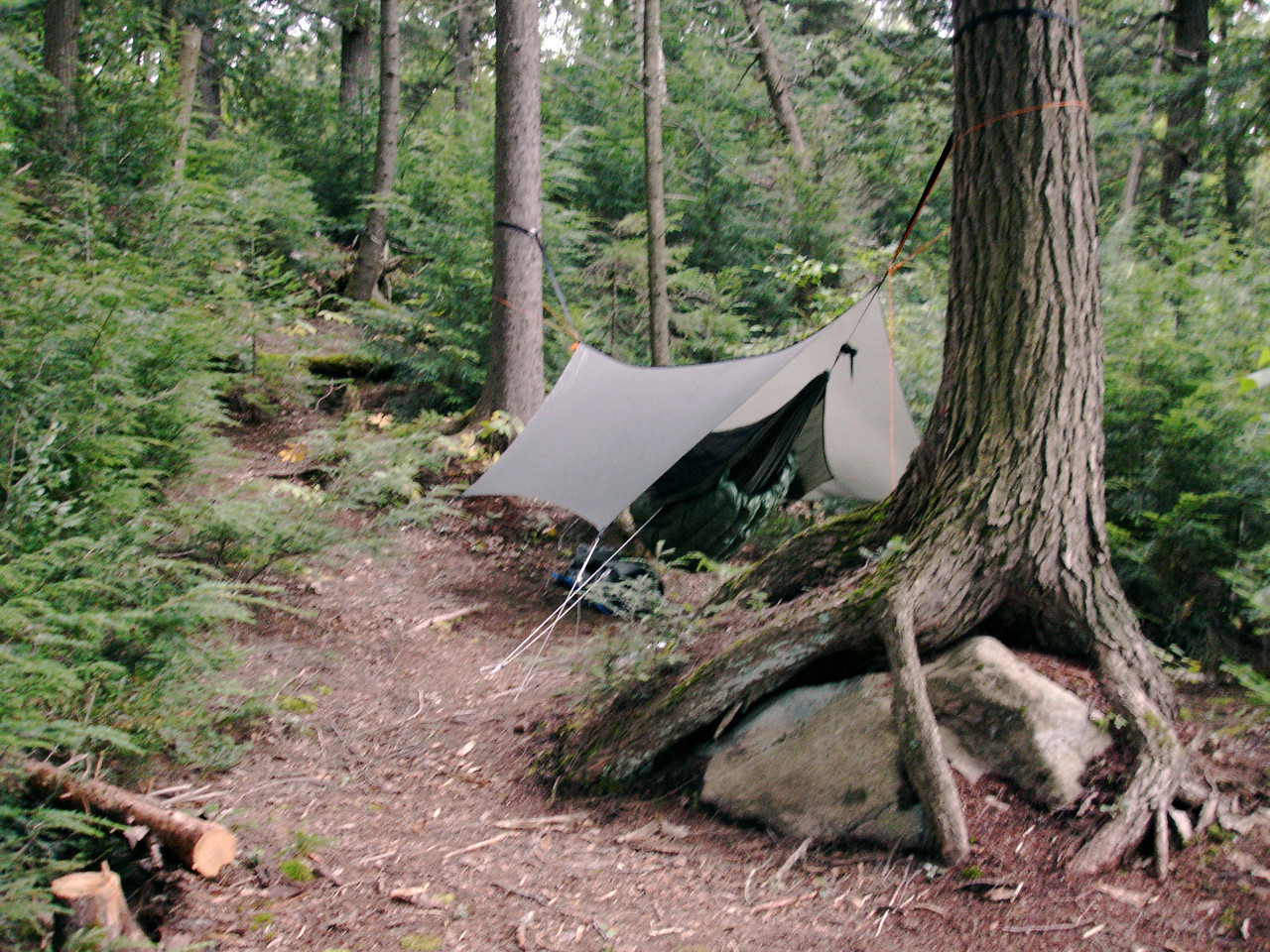 Campsite on Harness Lake:<br /> Warbonnet Blackbird hammock and Edge tarp<br /> Hammock Gear quilts