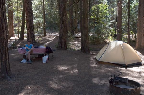 Our lavish campsite, complete with stream.