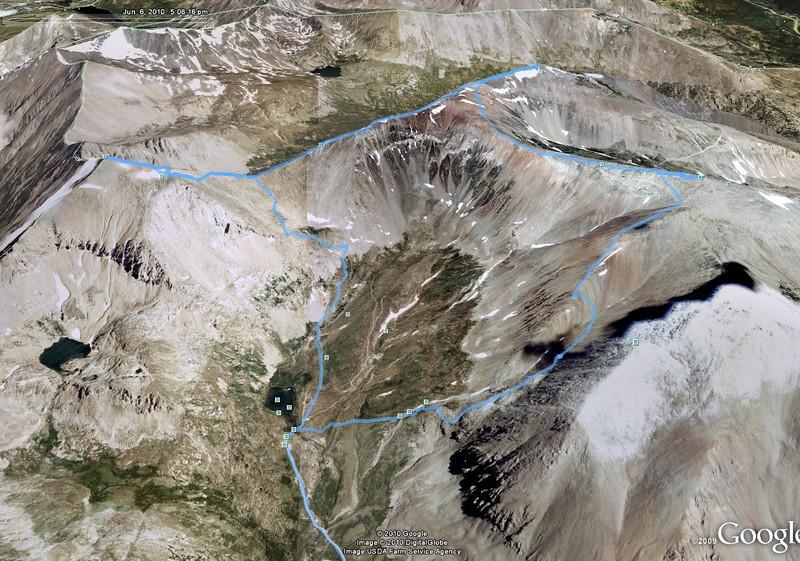 Mt. Democrat, Mt. Cameron, Mt. Lincoln and Mt. Bross GPS track in Google Earth