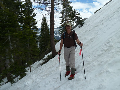 The first hundred feet of the sub-dome had steep but soft snow.  Kicking steps was easy.