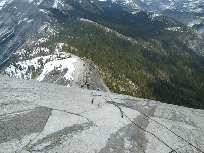 Top of the cables.  Took about 15 minutes total to climb.  Note the water from snow melt.  Not slippery here -- slope is not very steep.