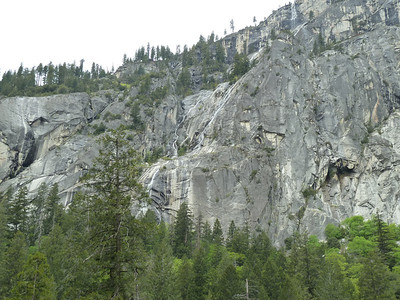 Waterfalls everywhere.  This one on the east-facing wall below Glacier Point.