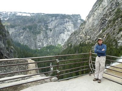 Top of Vernal Fall.  Glacier Point in view.