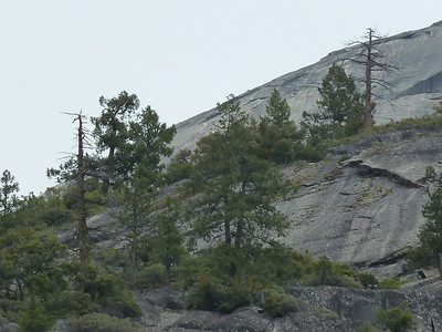 Southwest side of Half Dome, and the Snake Dike route.  Viewed from the top of Vernal Fall.