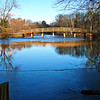 The rude bridge that arched the flood ... from the Old Manse boathouse dock, to the east.