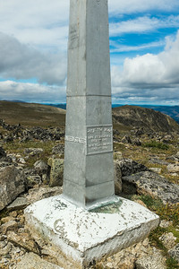 An international boundary marker at 8,000 feet on Armstrong Mountain