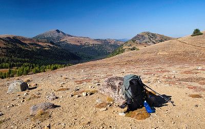 The 7,500' trail junction to Corral Lake. Sheep Mountain is the high peak in the distance.