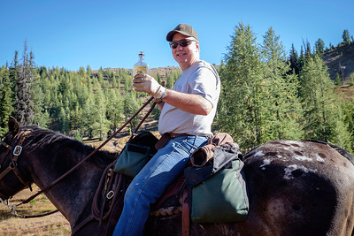 This horsepacker shared his home-made moonshine with me. It was fantastic! He and his buddy were wandering around, more lost than found, because of the lack of trail signs.