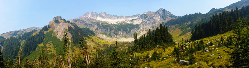 Panorama of the upper basin near Boulder Peak. Clark Mountain looks subdued due to fire haze.