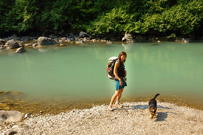 Virginia and Rudy explore the bank of the White River