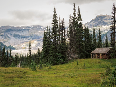 Indian Henry's Hunting Ground. The cabin is the backcountry Ranger station. Rainier is hidden in the clouds.