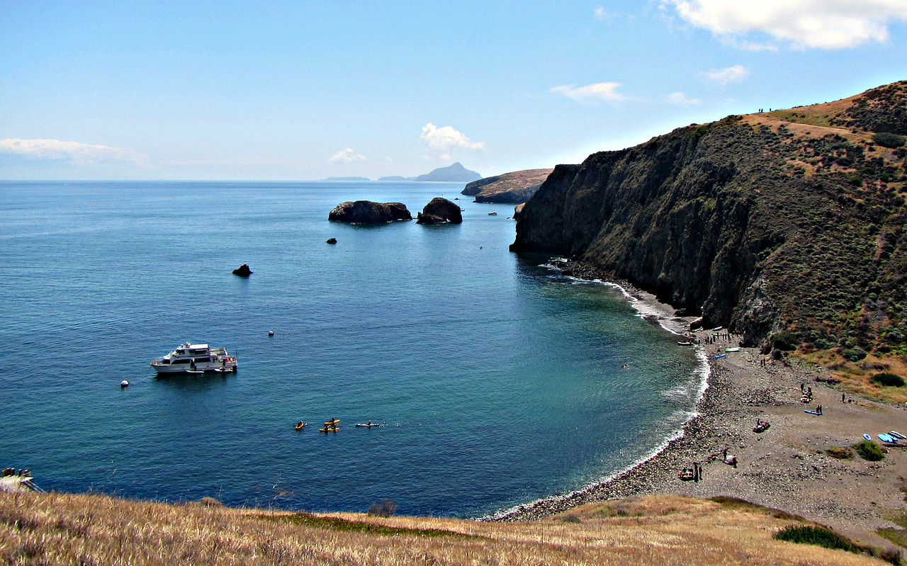 Scorpion Anchorage, from halfway up the Cavern Point Loop. Anacapa I. in the distance.