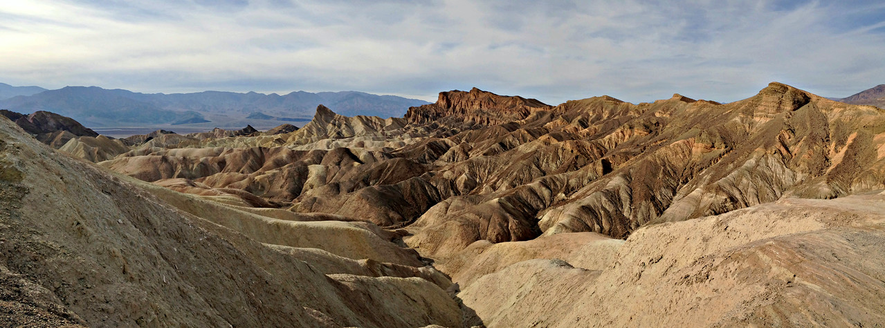Zabriskie Point - looking west to Manly Beacon and Red Cathedral, in Golden Canyon.