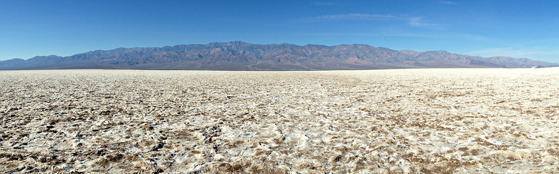 Badwater salt flats, looking west to Panamint Mts.