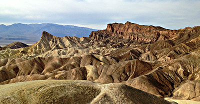 Zabriskie Point - close-up of Manly Beacon and Red Cathedral.
