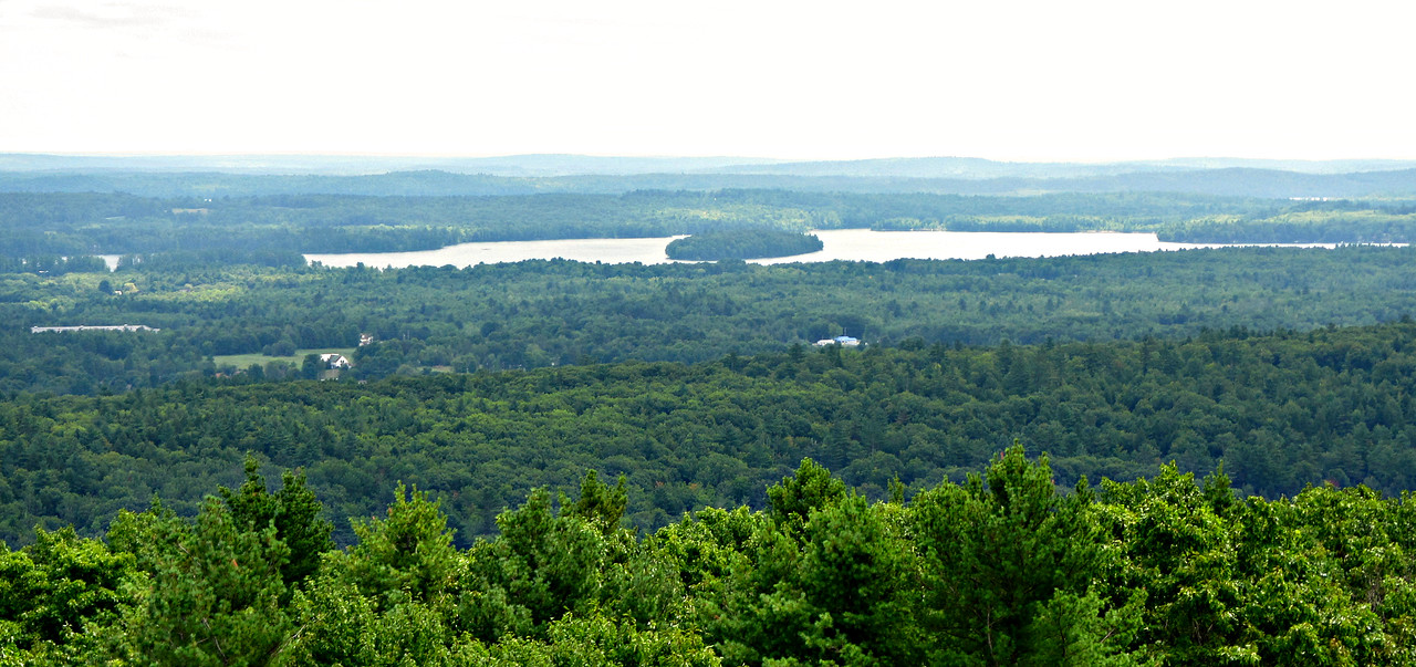 From Mt. Pisgah Firetower: south to Big Island in Annabessacook Lake.