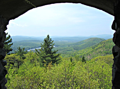 Looking west from the Tower: Martin Meadow Pond, Orne Mtn. and Mt. Pleasant.