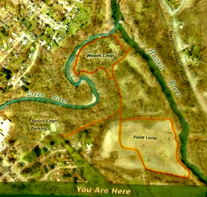 Trail Map at Linear Park Kiosk, near Tennis Court/Parking.  The Field Loop is no longer intact.