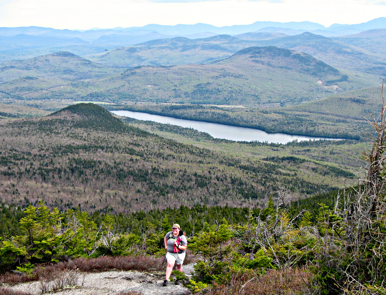 Nearing the No. Percy summit:  Victor Head and Lake Christine in the background.