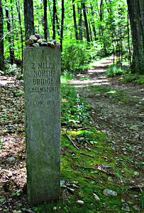 Minuteman milestone, on Estabrook Road, which hasn't changed since April 19, 1775.
