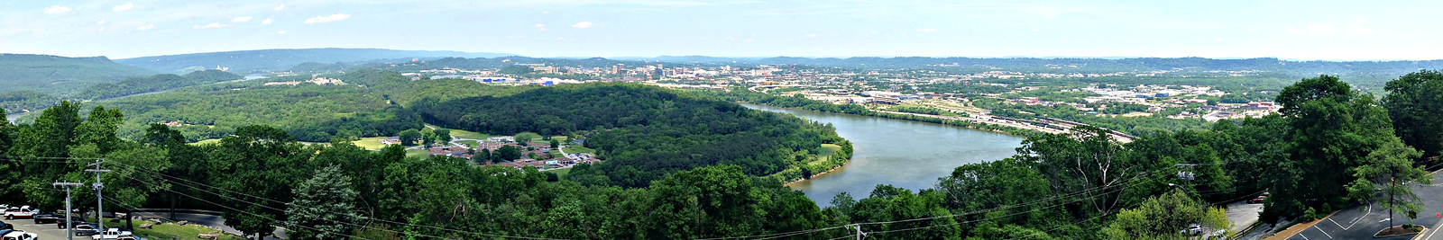 Looking north from Ruby Falls observation tower on Lookout Mountain - Moccasin Bend, Tennessee River and Chattanooga.