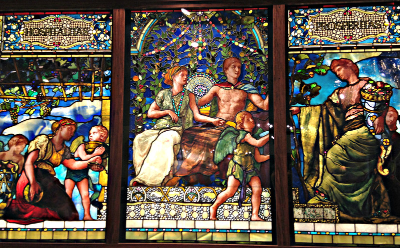 A J. LaFarge stained glass, transported from the Vanderbilt Mansion on 5th Avenue, NYC.  At the Winery.