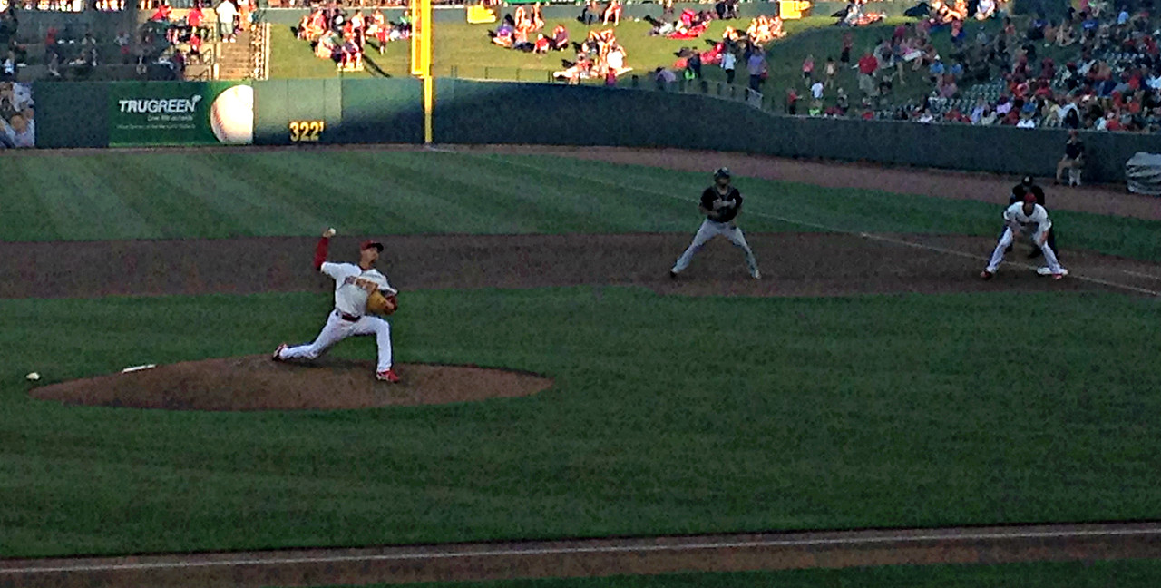 Luke Weaver firing in a 99 mph fastball.