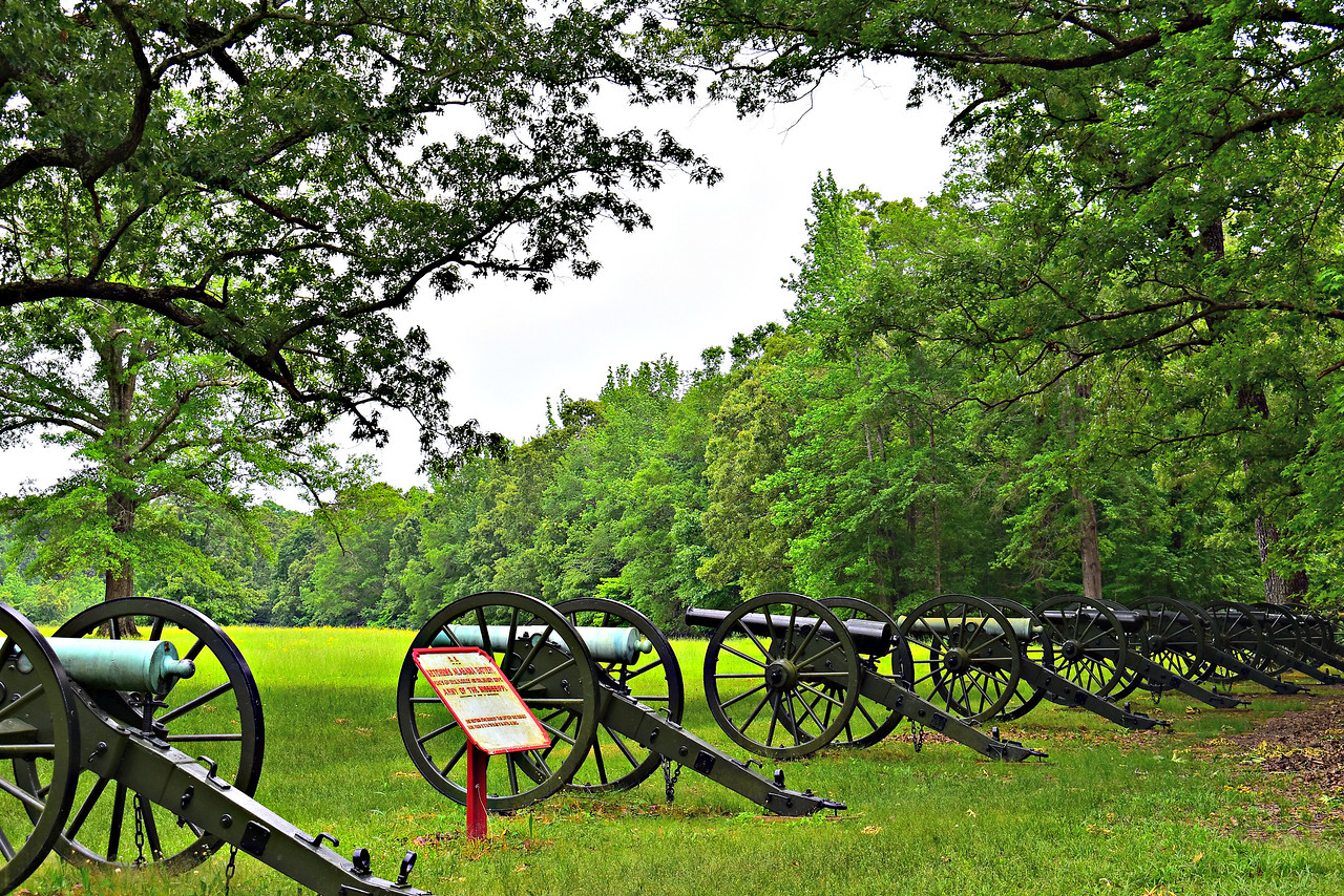 Ruggles' Battery, on the south side of Duncan Field.  11 concentrated Confederate batteries - 53 cannons - pinned down the Hornet's Nest defenders, who were surrounded and surrendered.