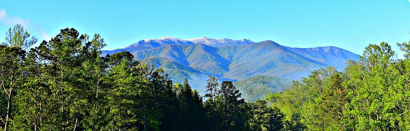 Snow-capped Mt. LaConte, from dining room front porch, Sunday morning.