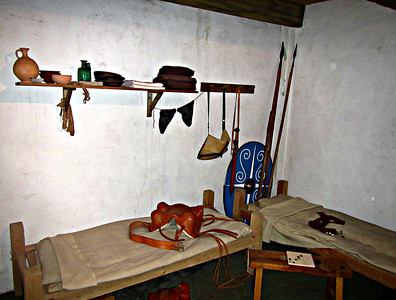 Recreated bunkroom for two Roman cavalrymen, at Segedenum.