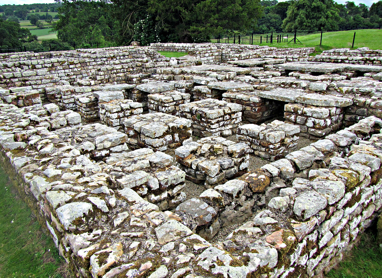 Chesters Fort - underside of a hypocaust:  heated floor in the Prefect's posh quarters.