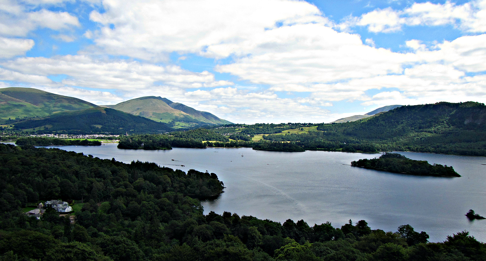 Looking NE to Keswick, from trail up Cat Bells.