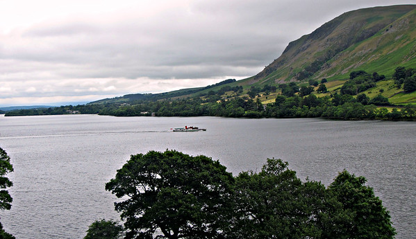 "An Ullswater ""Steamer"" approaches Howtown pier."