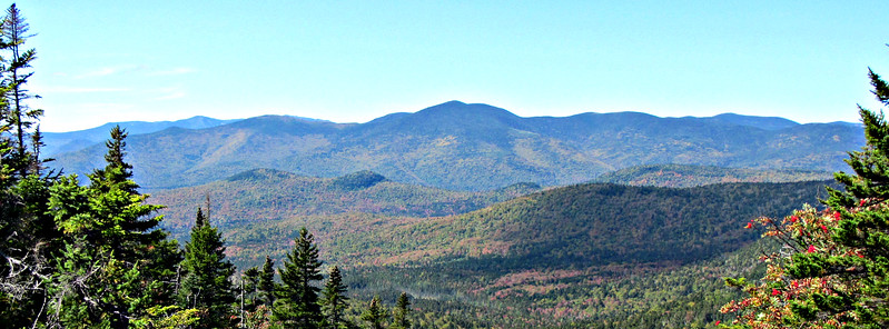 View west to Mt. Bond and the Twin Range, with Lafayette Range in left distance.