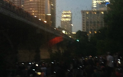 Crowds watching Congress Street Bridge bats - Impressionist style