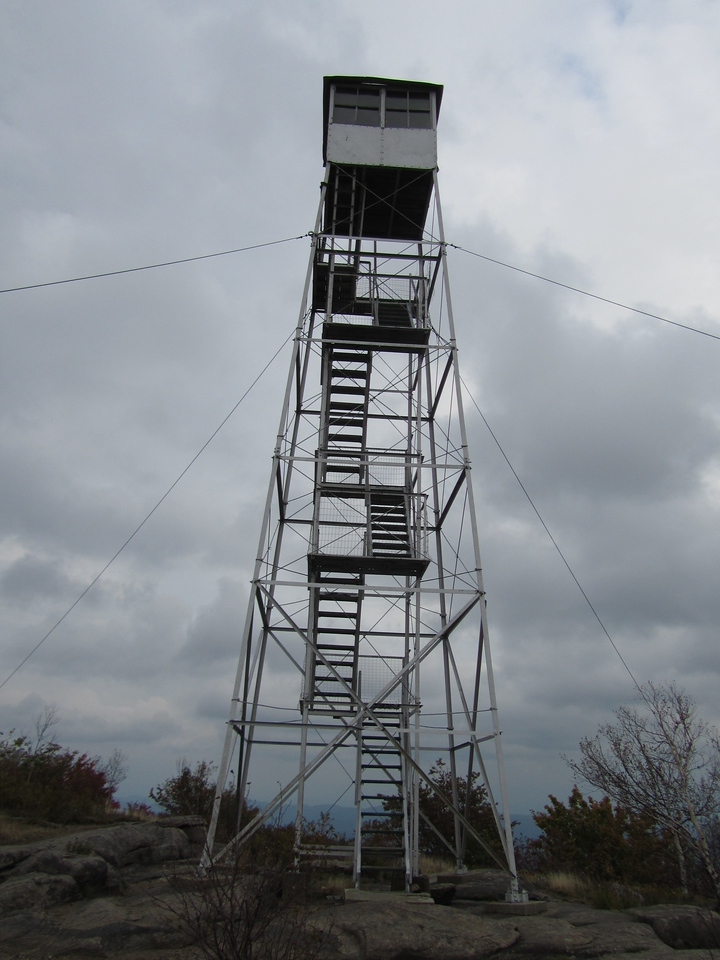Tower up close. The stairs are open but the cab is locked up.