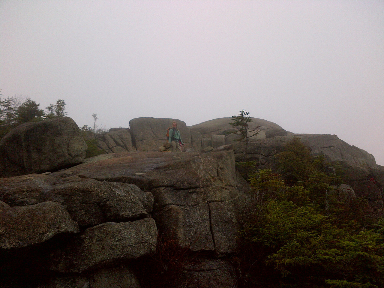 Nearing the summit in pea soup.