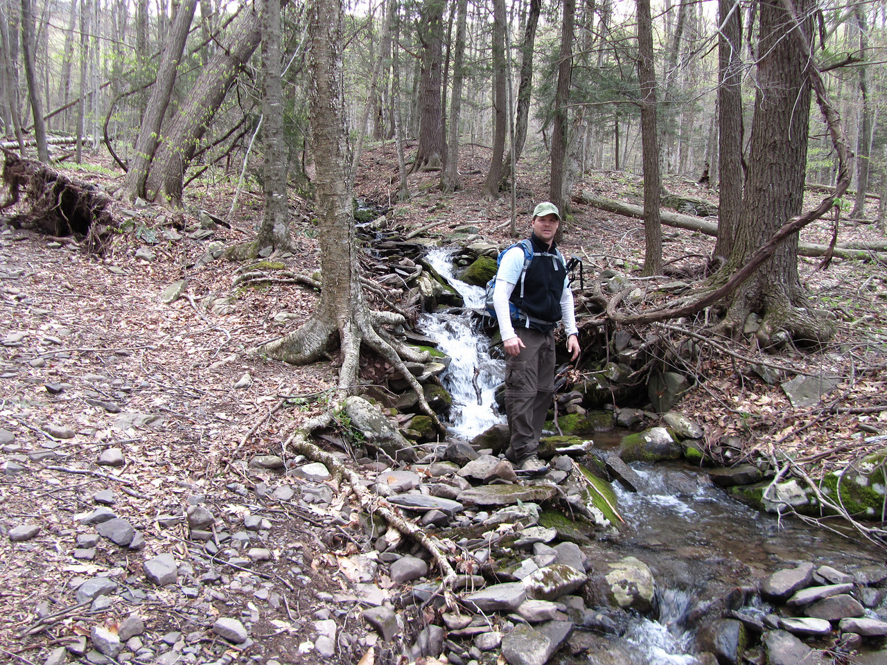 Babbling brook and babbling Rob.The recent rains had all the streams full.