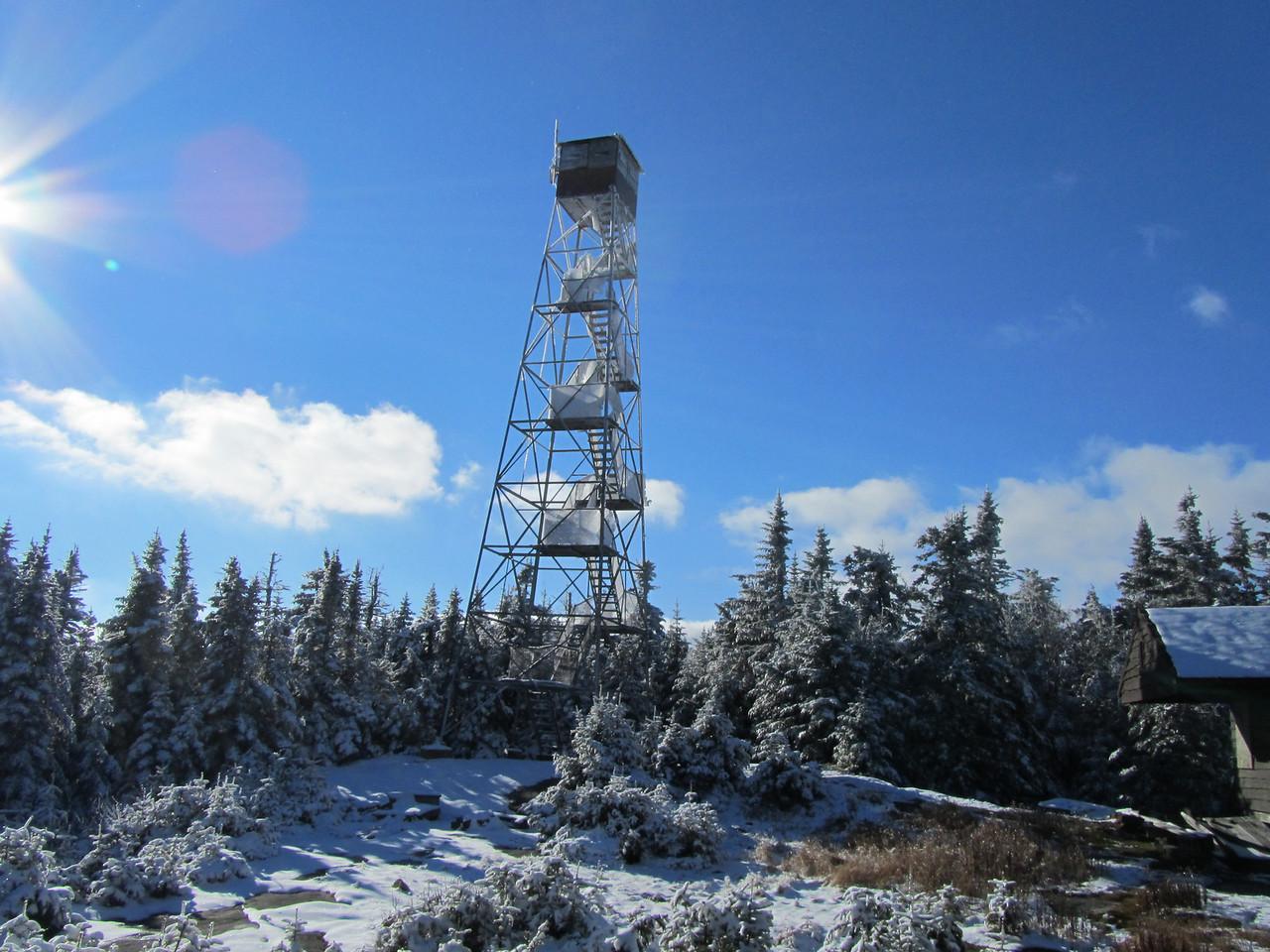 Pillsbury Mountain fire tower and ranger cabin.