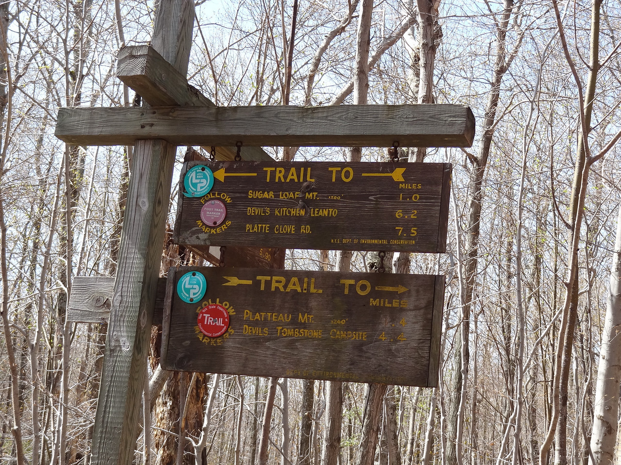 1240 more feet to go. My map says 0.8 miles to the summit but the sign says 0.4 miles. Since they spelled Plateau wrong, I went with the map. However it was definitely more than 0.8 miles, more like the 1.4 miles scratched into the sign. I was a sweaty mess within the first 500 feet vertical.<br /> <br /> Initially, I planned to do Sugarloaf Mtn as well since I was at altitude, but I was whipped. Will have to bring the dog again and do the same trip, this time with an official dog sleeping bag and dog hiking mattress. (Which they do make!)