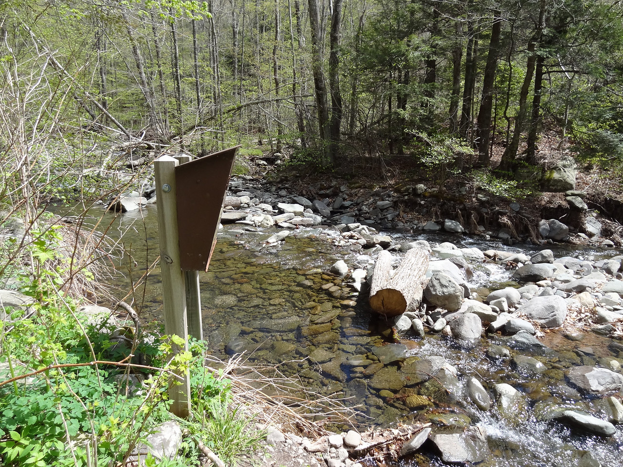 The registration kiosk required you to stand in the creek. Really DEC?!?!? I know the trail is washed out but can't you move the sign-in box?
